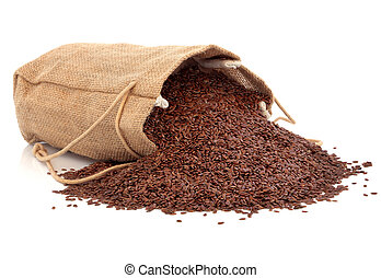 Linseed Flax - Linseed flax in a hessian bag and scattered...