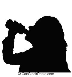 girl drinking water from bottle black silhouette