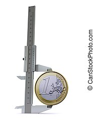 Caliper measures the euro coins. The symbol measures of money