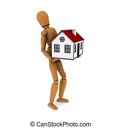 Standing wooden man with a force of holding a house with red roof. 3D rendering