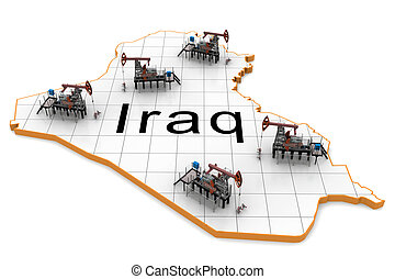 Oil pump-jacks on a map of Iraq