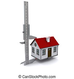 caliper measures the height of the house. 3D rendering