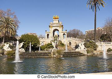 Source of Ciutadella Park in Barcelona, Catalonia Spain