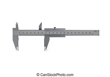 metal calipers standing horizontally 3D rendering