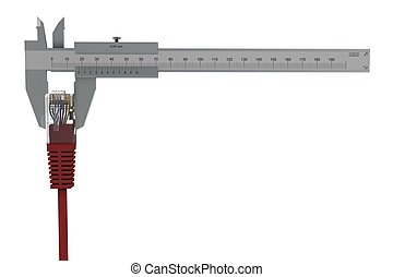 Caliper measures the network connector. 3D rendering