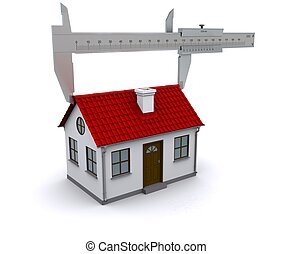 caliper measures the length of the roof. 3D rendering