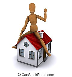 The wooden man sitting on the roof of the house with red roof. 3D rendering