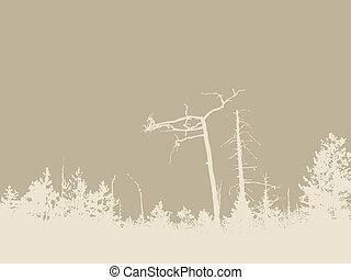 timber silhouette on brown background