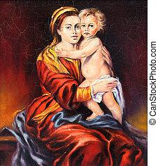 desenhado, lona, óleo, criança,  madonna