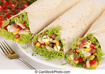 Chicken Wrap Sandwiches - Fresh chicken wrap sandwiches...