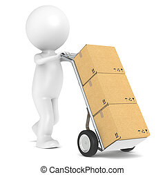 Delivery - 3D little human character with a Hand Truck and...
