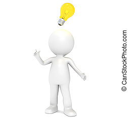Bright Idea - 3D little human character having an Idea....