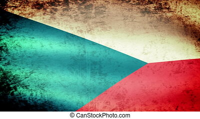 Czech Flag Waving, grunge