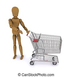 The wooden man shows up on standing beside the cart. 3D rendering