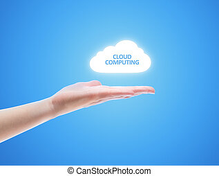 Cloud Computing Concept - Woman hand share the cloud against...