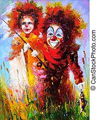 clowns, deux, Peche