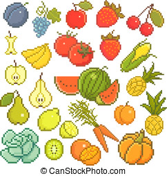 8 bit fruits - 8 bit vector set with fruits and vegetables