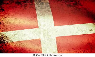 Denmark Flag Waving, grunge