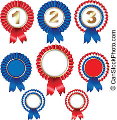 Ribbon Rosette Badge - 8 Ribbon Rosette Badge, Isolated On...