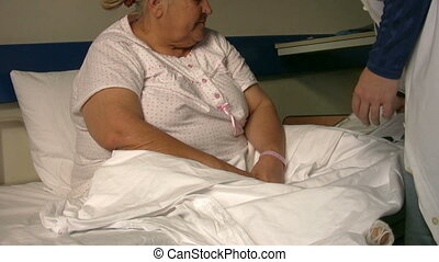 Sick diabetic women in hospital room