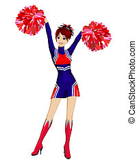 Cheerleader with red poms - Cartoon cheerleader with red...