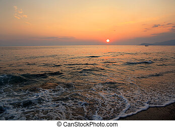 Sunset by the Mediterranean sea