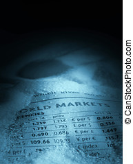 Financial figures - Closeup of page of financial newspaper...