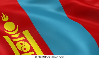 Mongolian flag in the wind. Part of a series.