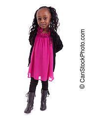 Little african american girl smiling, isolated on white...