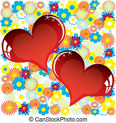 Valentine love card with heart of flowers