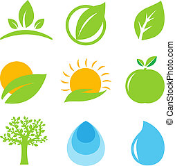 Eco Logo - 9 Eco Logo, Isolated On White Background, Vector...