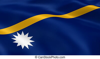 Nauruan flag in the wind. Part of a series.