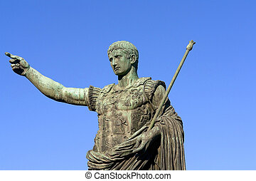 Bronze statue of emperor Caesar Augustus on Via dei Fori...