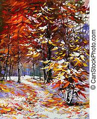 estrada, Outono, madeira