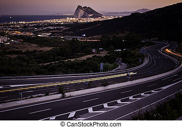 Rock of Gibraltar - The rock of Gibraltar with traffic...
