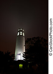 Coit Tower in San Fransisco at night.