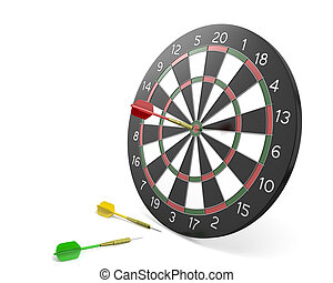 One dart hit the center of board and two missed
