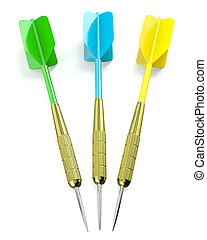 Three darts arrows, red, blue and yellow, isolated on white...