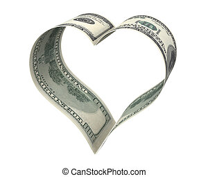 Heart made of two dollar papers, isolated on white...