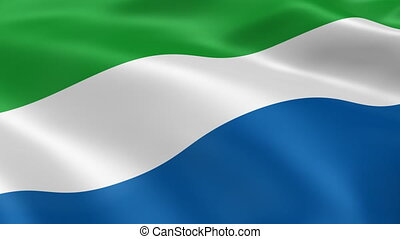 Sierra Leonean flag in the wind. Part of a series.