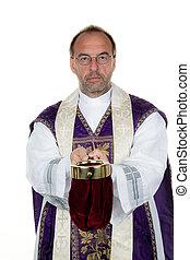 católico, sacerdote, collects, dinero