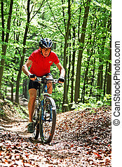 senior with mountain bike bicycle - senior sporty bike with...