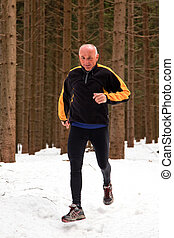 senior running when jogging in the winter