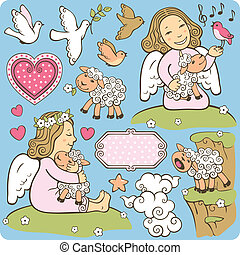 angels - Set of twoo angels with lambs and additional...