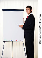 businessman with a flip chart - successful business man with...