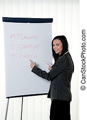 coach with a flip chart in german training and education