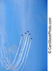 Air force aerobatic team airshow at blue impulse of japan