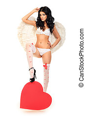figure good - Sexual young woman angel posing with red heart...
