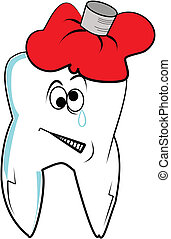 tooth ache  - cartoon tooth ache crying from the pain