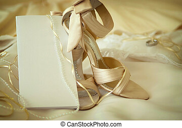 Wedding dress,shoes blank invitation card